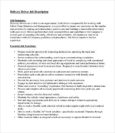 Driver Job Description Templates  Pdf Doc  Free  Premium