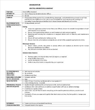 assistant driver job description