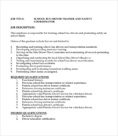 School Bus Driver Job Description