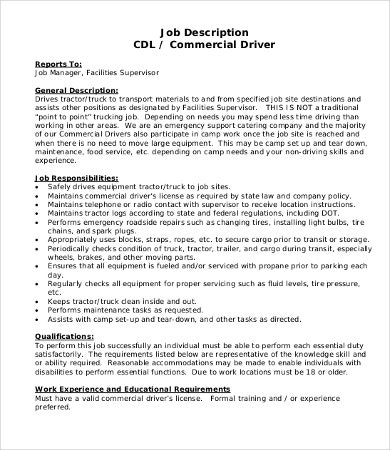 job description truck driver