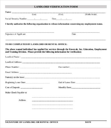 Awesome Landlord Employment Verification Form Template For Landlord Employment Verification Form