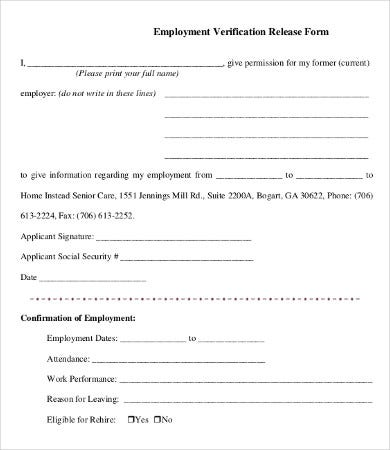 Employment Verification Release Form Template