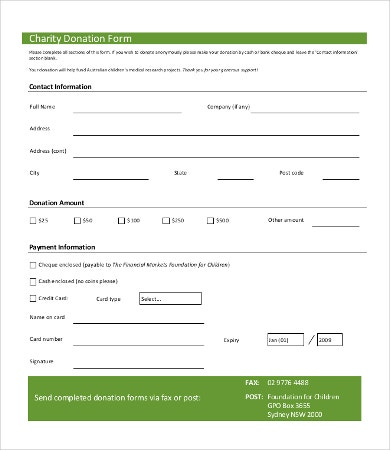 Charity Donation Form Template  Free Forms Templates