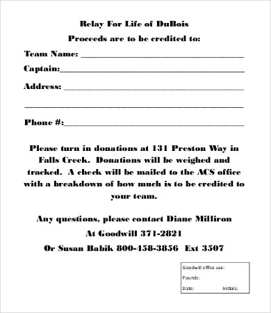 Goodwill Donation Form Template