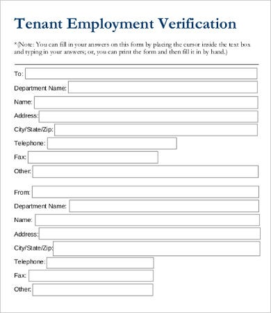 Employee Verification Form Tenant Employment Verification Form