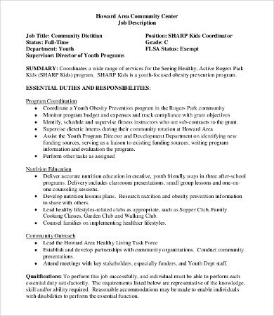 Dietitian Job Description - 7+Free Word, Pdf Documents Download