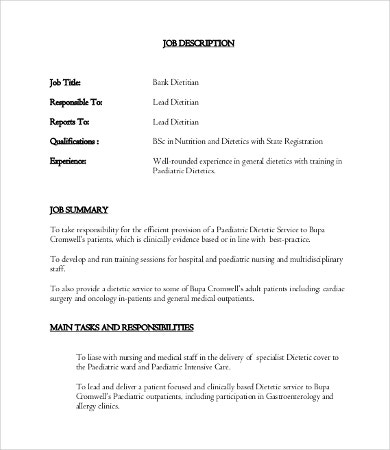 Dietitian Job Description  Free Word Pdf Documents Download