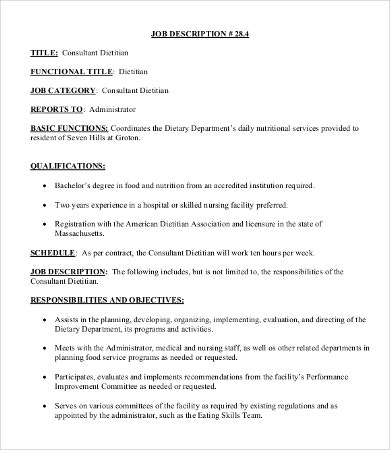 Dietitian Job Description Templates  Pdf Doc  Free  Premium