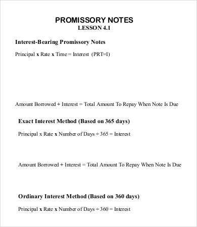 Sample Promissory Note Template   Free Sample Example Format