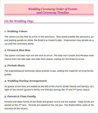 Wedding Day Timeline - 7+ Free PDF Documents Download | Free ...