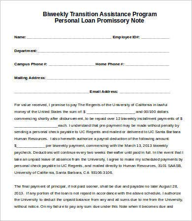 Awesome Sample Personal Loan Promissory Note Template  Promissory Note Sample Template