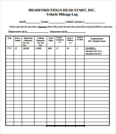 Printable Vehicle Maintenance Log