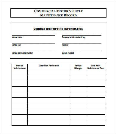 vehicle maintenance log 7 free pdf excel documents download