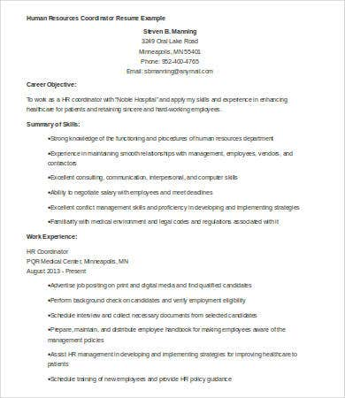 hr resumes 7 free word pdf documents download free premium