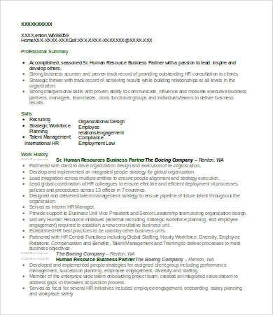 Marvelous HR Business Partner Resume