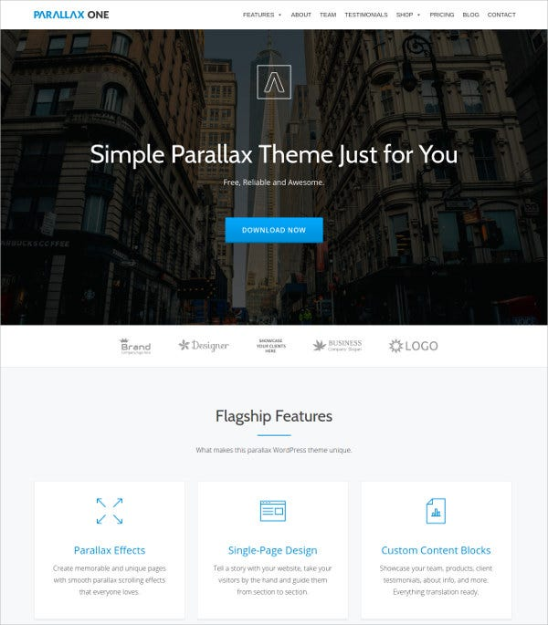 Single Page WordPress Theme