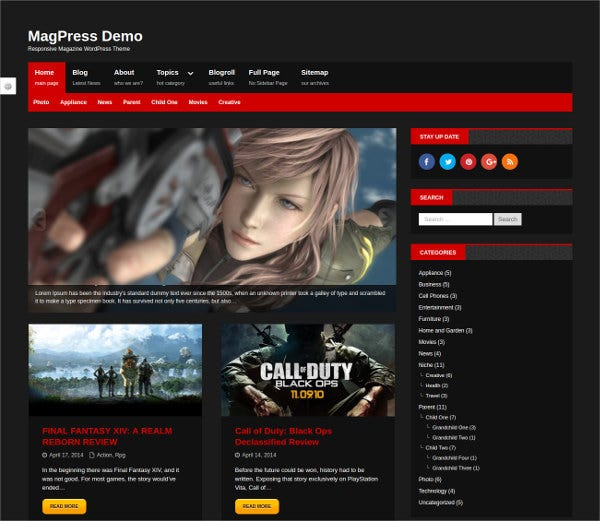 Responsive Dark WordPress Theme