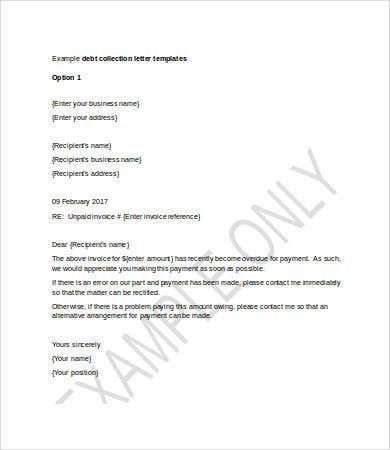 Collection Letter Template   Free Word Pdf Format Download