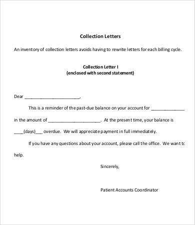 sample collection letter collection letter template 7 free word pdf format 3399