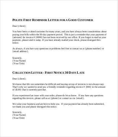 collection letter template - 7+ free word, pdf format download