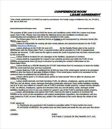 conferernce room lease agreement