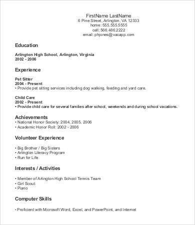 high school entry level resume template