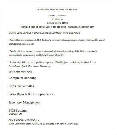 Entry Level Sales Professional Resume Template