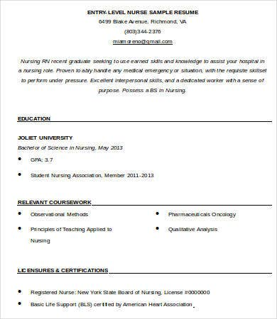 entry level nurse resume template - Sample Entry Level Nurse Resume