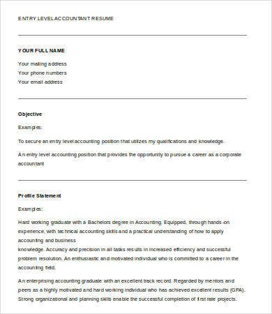 entry level accountant resume - Entry Level Accountant Resume