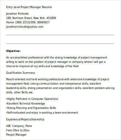 Entry Level Project Manager Resume