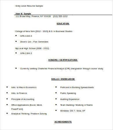 entry level resume template free word documents download sample