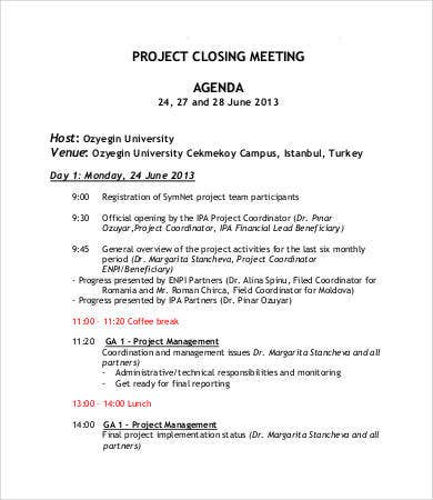 project closing meeting agenda template