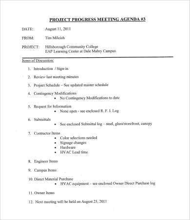 project progress meeting agenda template