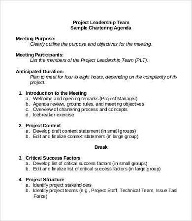 project team agenda template