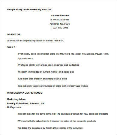 Sample Entry Level Marketing Resume