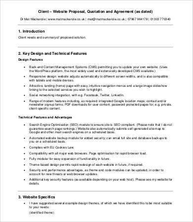 client website design proposal agreement