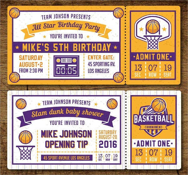 Basketball Raffile Ticket Invitation