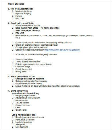 Printable Checklist Template   Free Word Pdf Documents Download