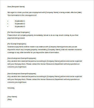 Exceptional Employee Termination Letter Sample