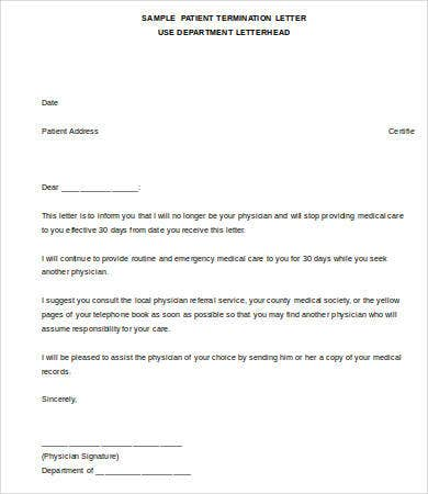 Sample Patient Termination Letter