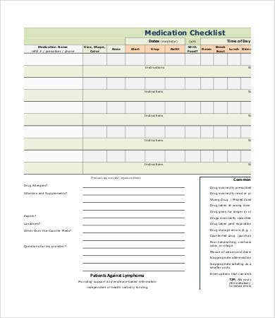 free medication checklist template
