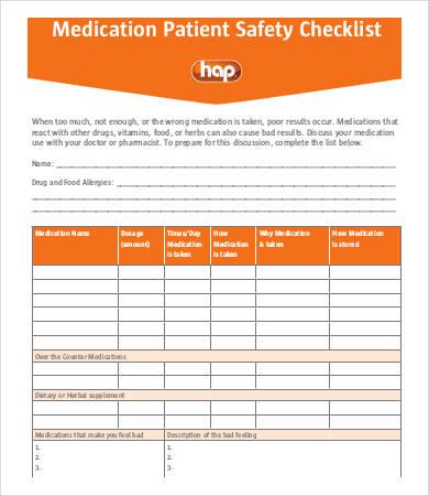 medication safty checklist example