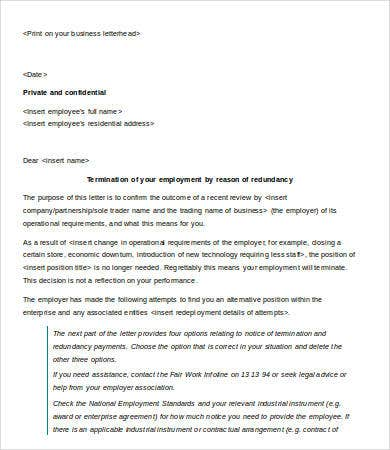 termination letter of employment