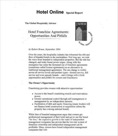 hotel franchise agreement