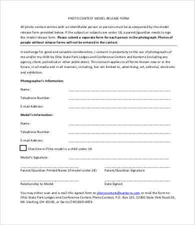 photographic release form template - model release form template 8 free sample example