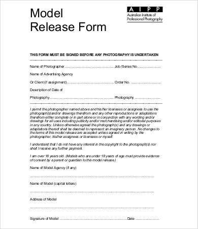 model release form template 8 free sample example format free