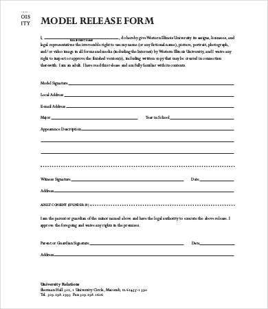 Model Release Form Template   Free Sample Example Format