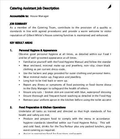 catering assistant job description - Job Description Of Neurologist