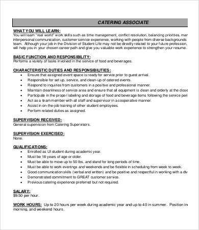 catering associate job description