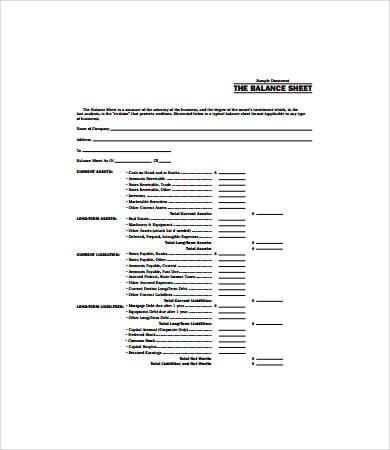 standard balance sheet format